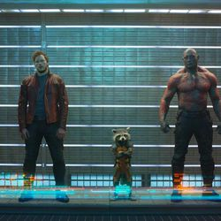 Gamora (Zoe Saldana), from left, Peter Quill/Star-Lord (Chris Pratt), Rocket Raccoon (voiced by Bradley Cooper), Drax The Destroyer (Dave Bautista) and Groot (voiced by Vin Diesel) in Marvel's Guardians of the Galaxy.