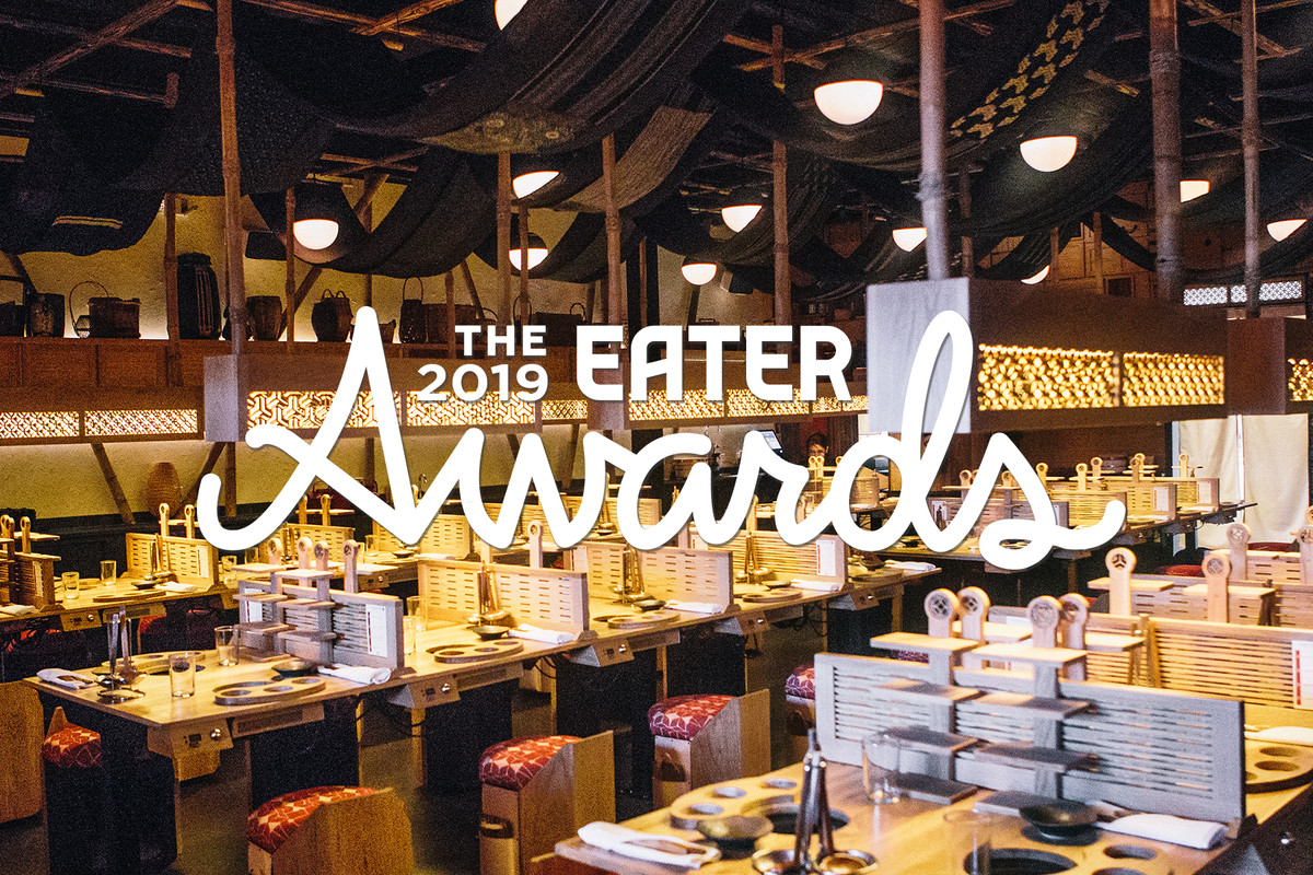 "The dining room of DipDipDip Tatsu-ya overlaid with text that says ""The 2019 Eater Awards"""