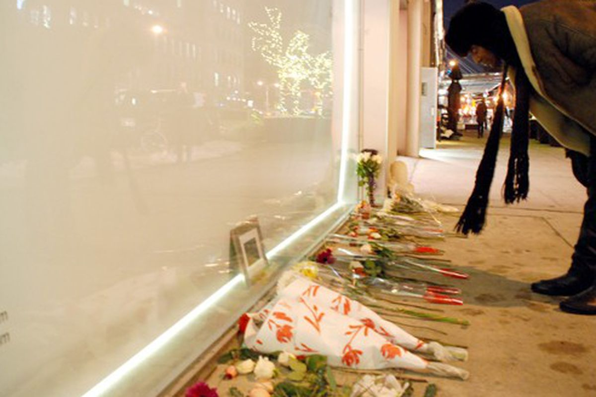 February 2010's makeshift memorial to Alexander McQueen at his store
