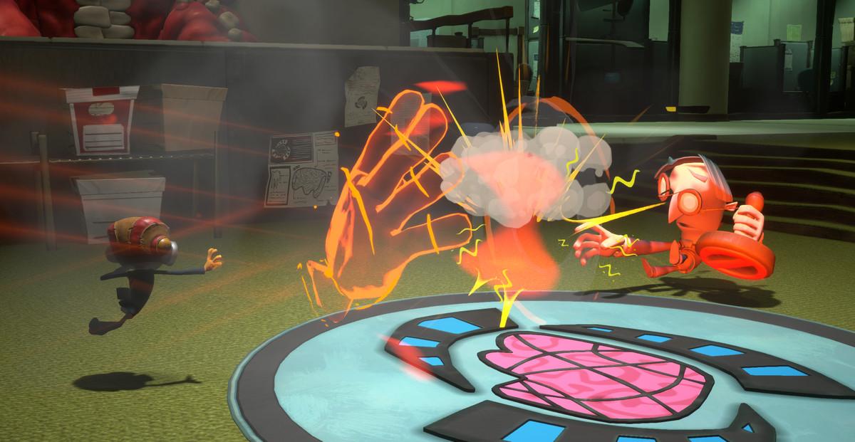 Raz using his psychic powers to fight off enemies