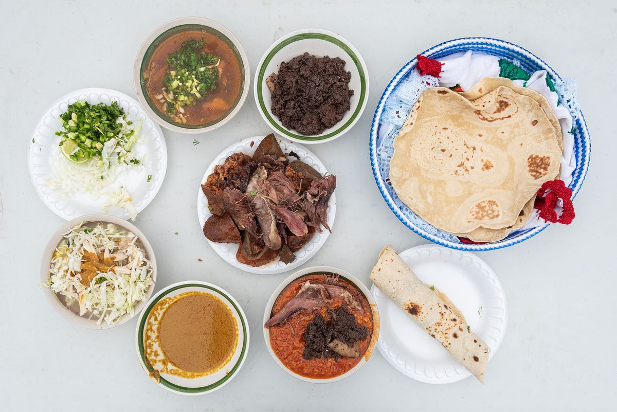 Yique, flour tortillas, moronga, and other dishes at the Bautista home.