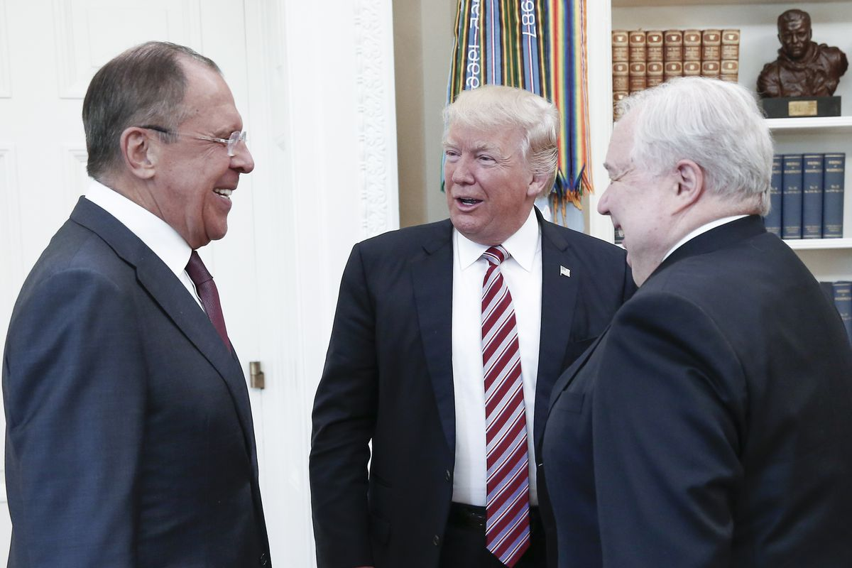 President Donald Trump meets with top Russian officials at the White House.