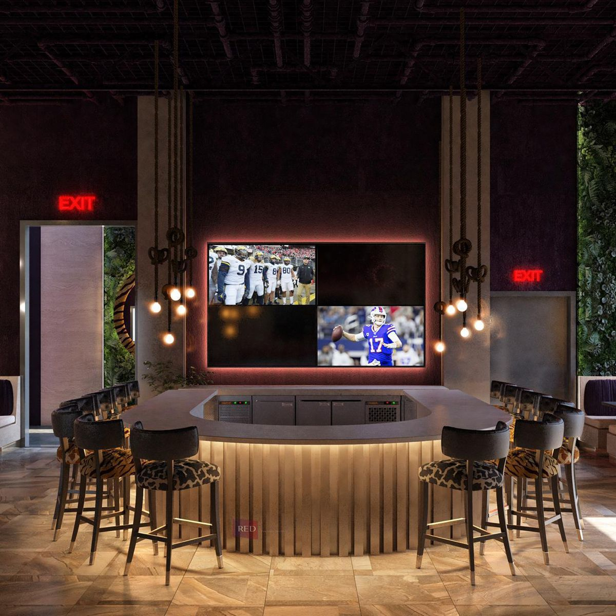 The u-shaped bar at Zoo Bar in Grant park Atlanta with a large LED screen tv playing football