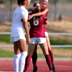 Farmington and Viewmont girls battle to a 1-1 tie at the end of regulation play in Bountiful on Tuesday, Sept. 22, 2020. Farmington went on to advance with a 3-1 win in penalty kicks.