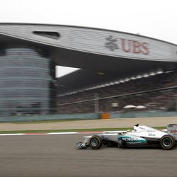 Mercedes Formula One driver Nico Rosberg of Germany steers his car during the Chinese Formula One Grand Prix in Shanghai, China, Sunday, April 15, 2012. (AP Photo/Mark Baker)