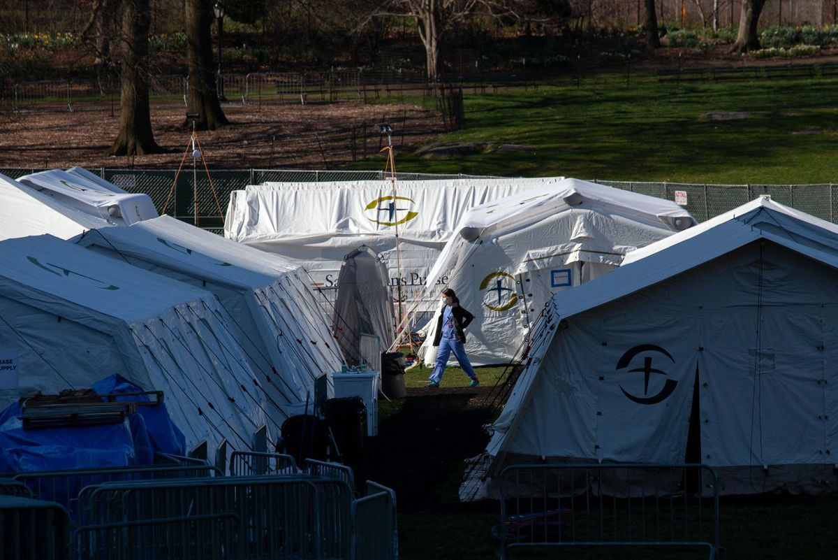 Samaritan's Purse constructed hospital tents in Central Park across from Mount Sinai Hospital during the coronavirus outbreak.