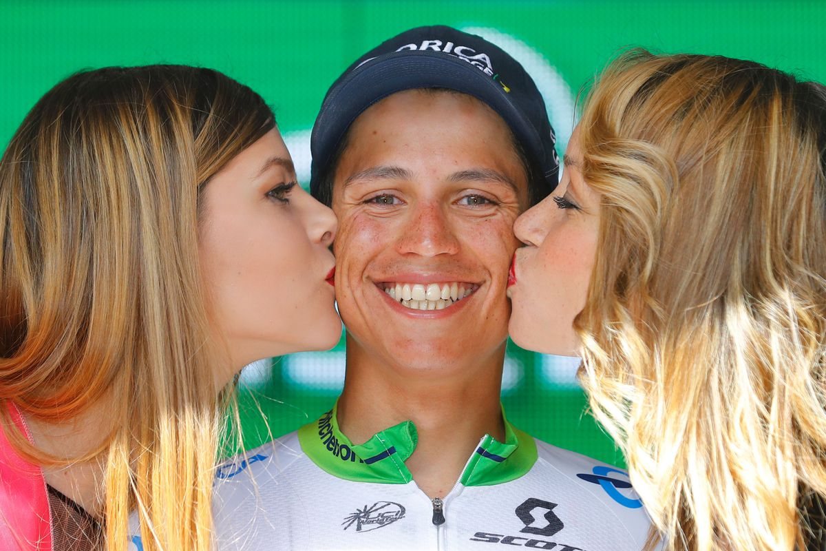 Esteban Chaves kisses