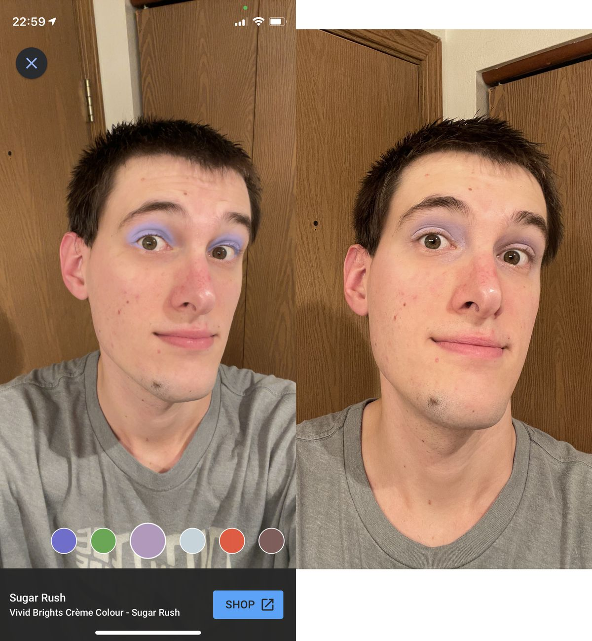 A comparison of the same makeup using Google's AR preview and the real thing