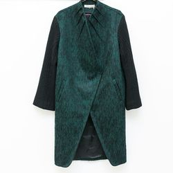 PRZHonskya green wool funnel collar coat, $1,195.00