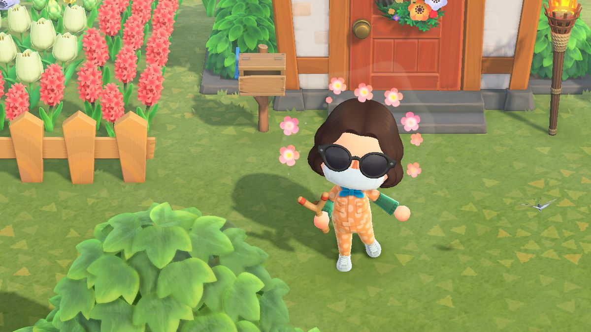 A character wearing a medical mask in Animal Crossing.