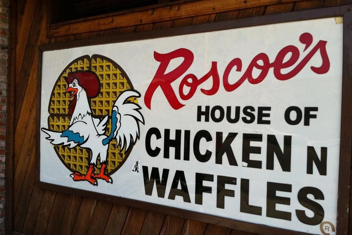 Sign outside Roscoe's House of Chicken 'N Waffles
