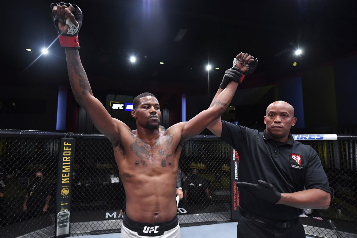 Kevin Holland reacts after his victory over Charlie Ontiveros in a middleweight bout during the UFC Fight Night event at UFC APEX on October 31, 2020 in Las Vegas, Nevada.