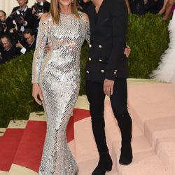 Cindy Crawford in Balmain, and Olivier Rousteing.