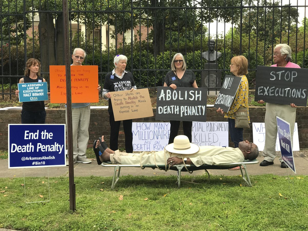Pulaski County Circuit Judge Wendell Griffen is shown taking part an anti-death penalty demonstration outside the Arkansas governor's mansion Friday. Griffen issued a temporary restraining order blocking the state from using its supply of vecuronium bromi