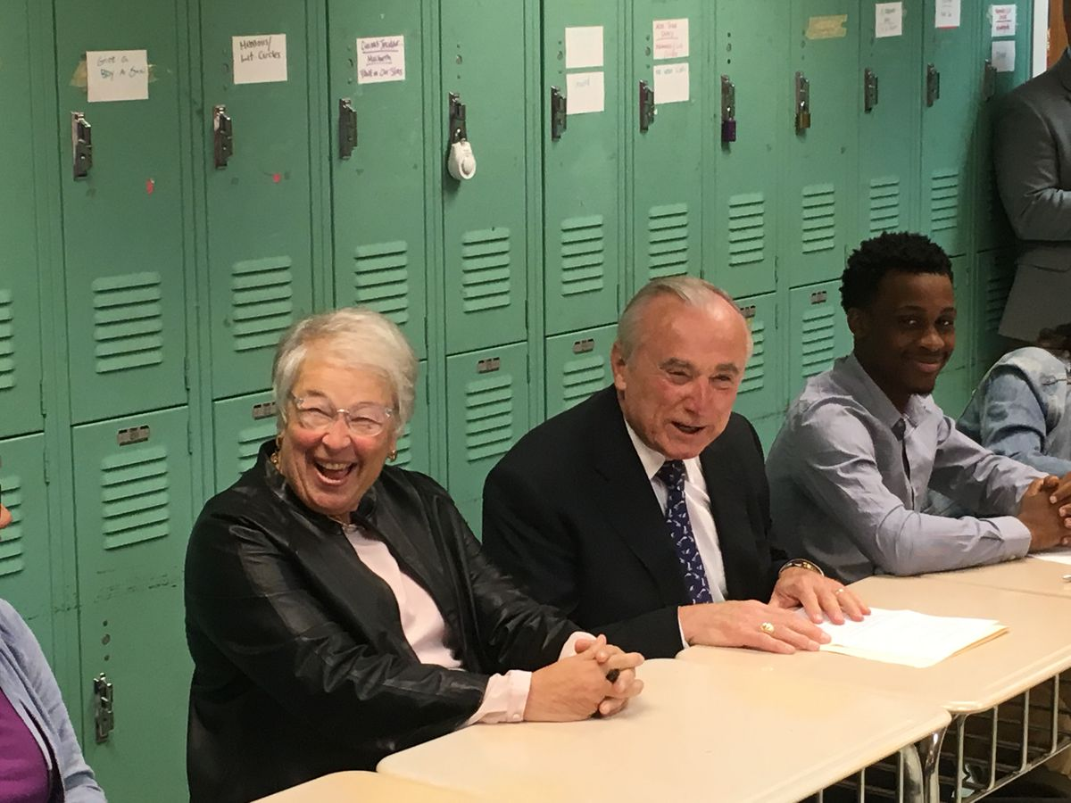Outgoing Chancellor Carmen Fariña and former NYPD Commissioner William Bratton listened to students talk about restorative justice in 2016 at Manhattan's Leadership and Public Service High School.