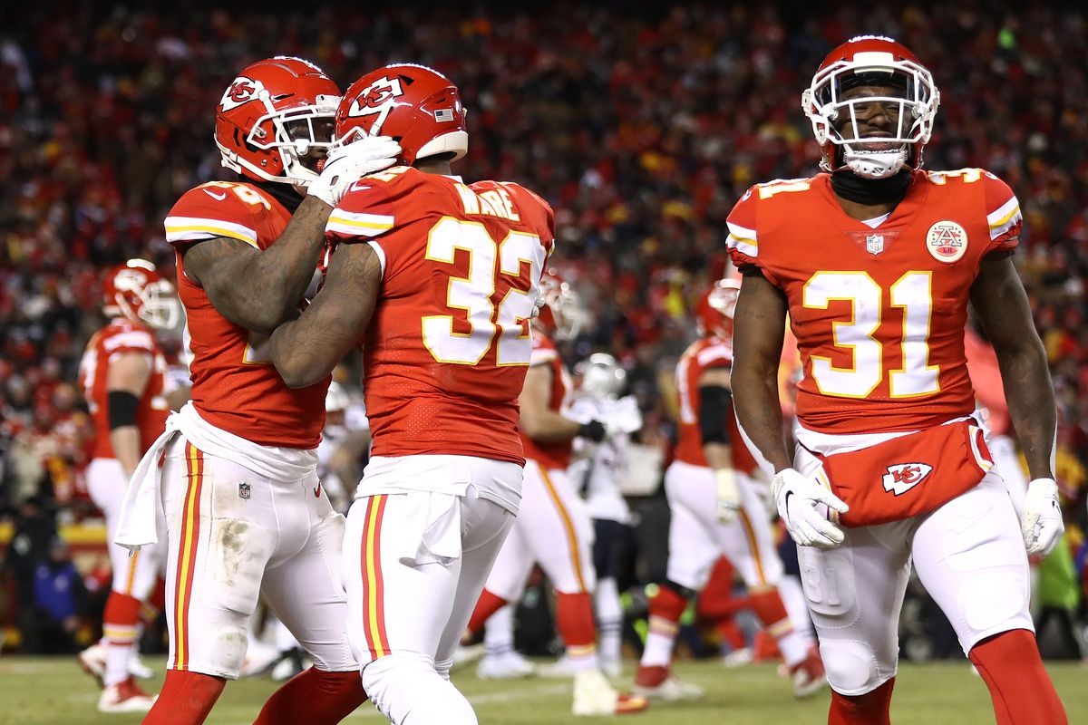 Damien Williams of the Kansas City Chiefs celebrates with Spencer Ware after rushing for a 2-yard touchdown in the fourth quarter against the New England Patriots during the AFC Championship Game at Arrowhead Stadium on January 20, 2019.