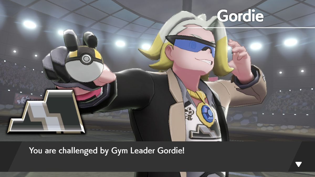 Gordie, Circhester's gym leader in Pokémon Sword, gets ready to battle