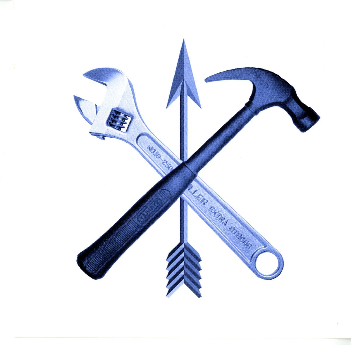 A holiday card from landscape architects at the SWA Group displays two prominent tools of the building trade: a hammer and a wrench.