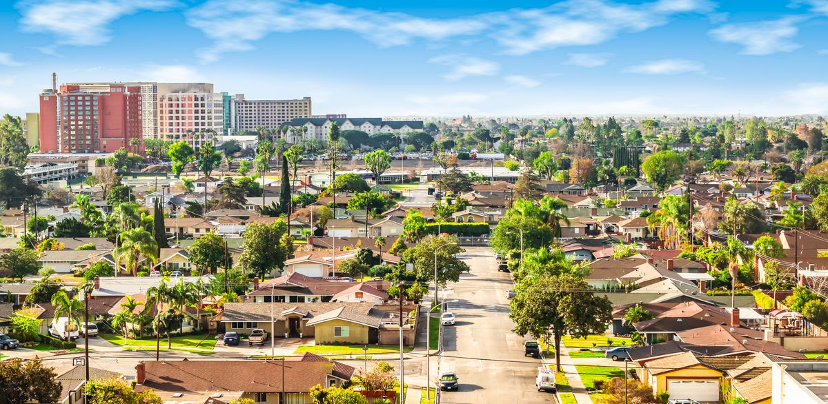 A single-family neighborhood in Orange County, California.