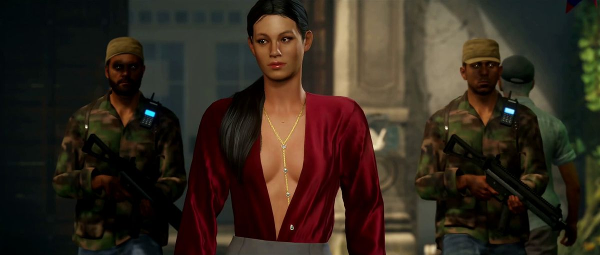 Hitman 2 - Andrea Martinez flanked by two guards in Colombia