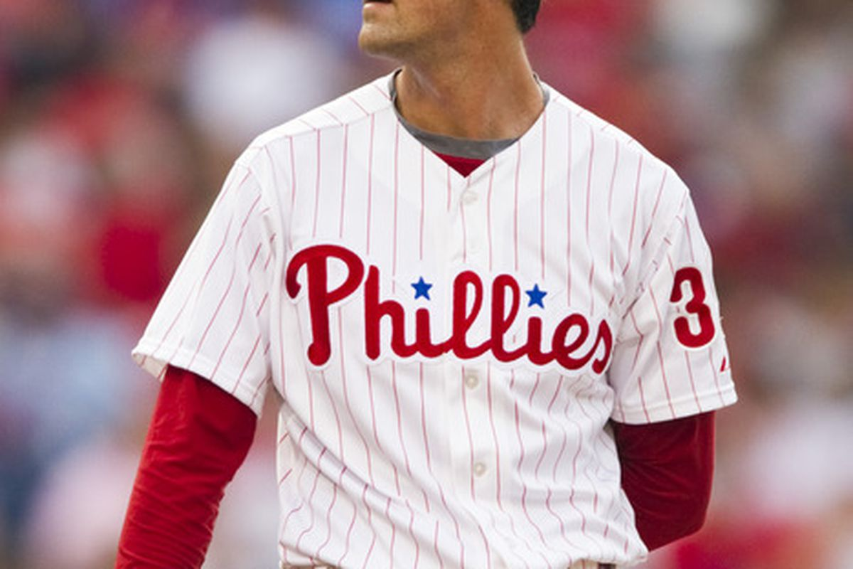 Jun 19, 2012; Philadelphia, PA, USA; Philadelphia Phillies pitcher Cole Hamels (35) during the first inning against the Colorado Rockies at Citizens Bank Park. The Phillies defeated the Rockies 7-2. Mandatory Credit: Howard Smith-US PRESSWIRE