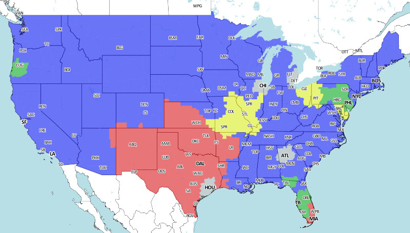 Baltimore Ravens Map St. Louis Rams At Baltimore Ravens: NFL Week 11 Broadcast Map