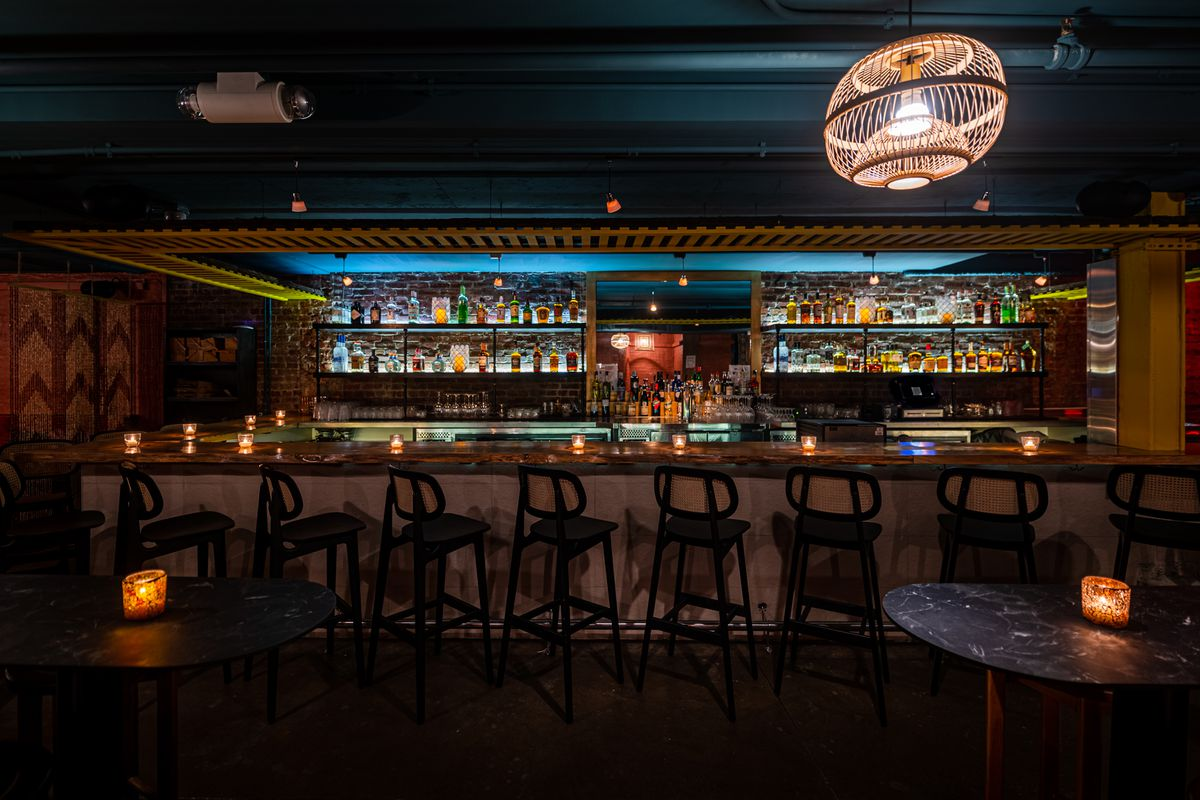 Bar seating at the renovated basement at Doi Moi on 14th Street