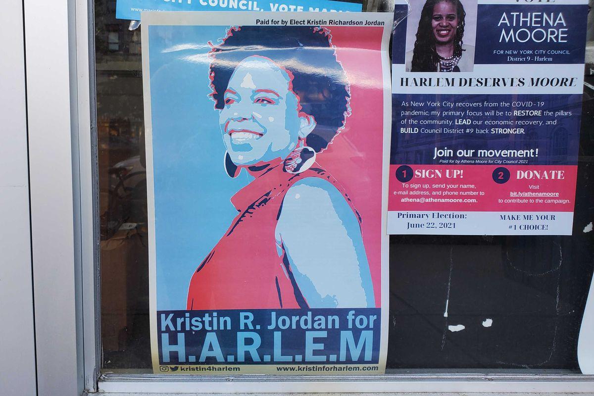 City Council candidate Kristin Richardson Jordan's campaign poster on a Harlem storefront.