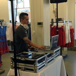 The DJ set up at the front of the store.