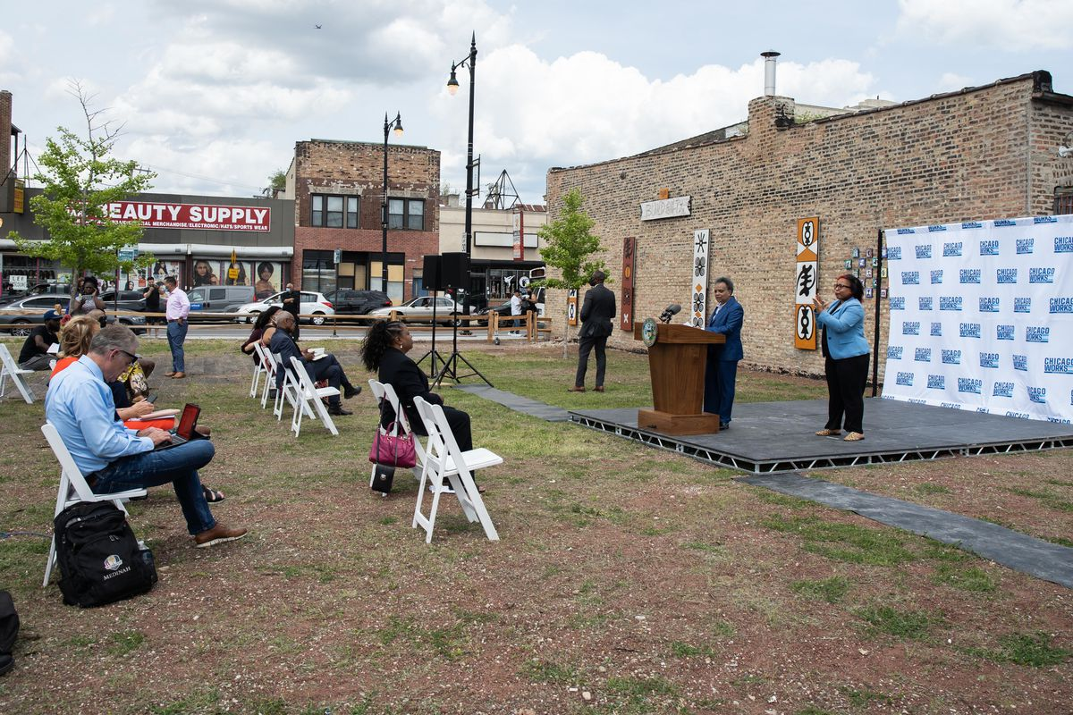 Mayor Lori Lightfoot speaks during a press conference on the Chicago Works Community Challenge. The news conference was in a vacant lot at 757 W. 79th St. in the Auburn Gresham neighborhood.