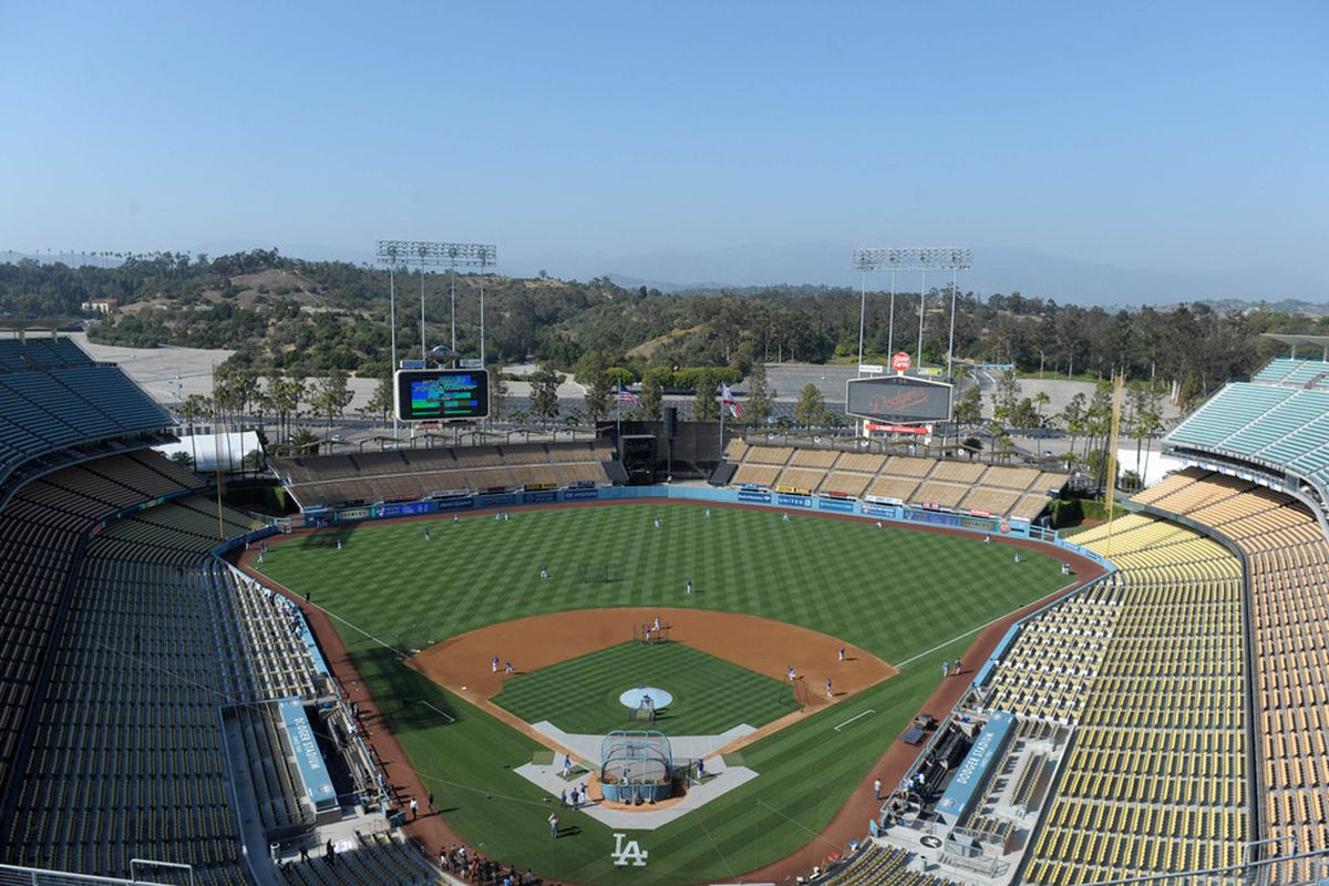 May 30, 2012; Los Angeles, CA, USA; General view of Dodger Stadium before the MLB game between the Milwaukee Brewers and the Los Angeles Dodgers. Mandatory Credit: Kirby Lee/Image of Sport-US PRESSWIRE