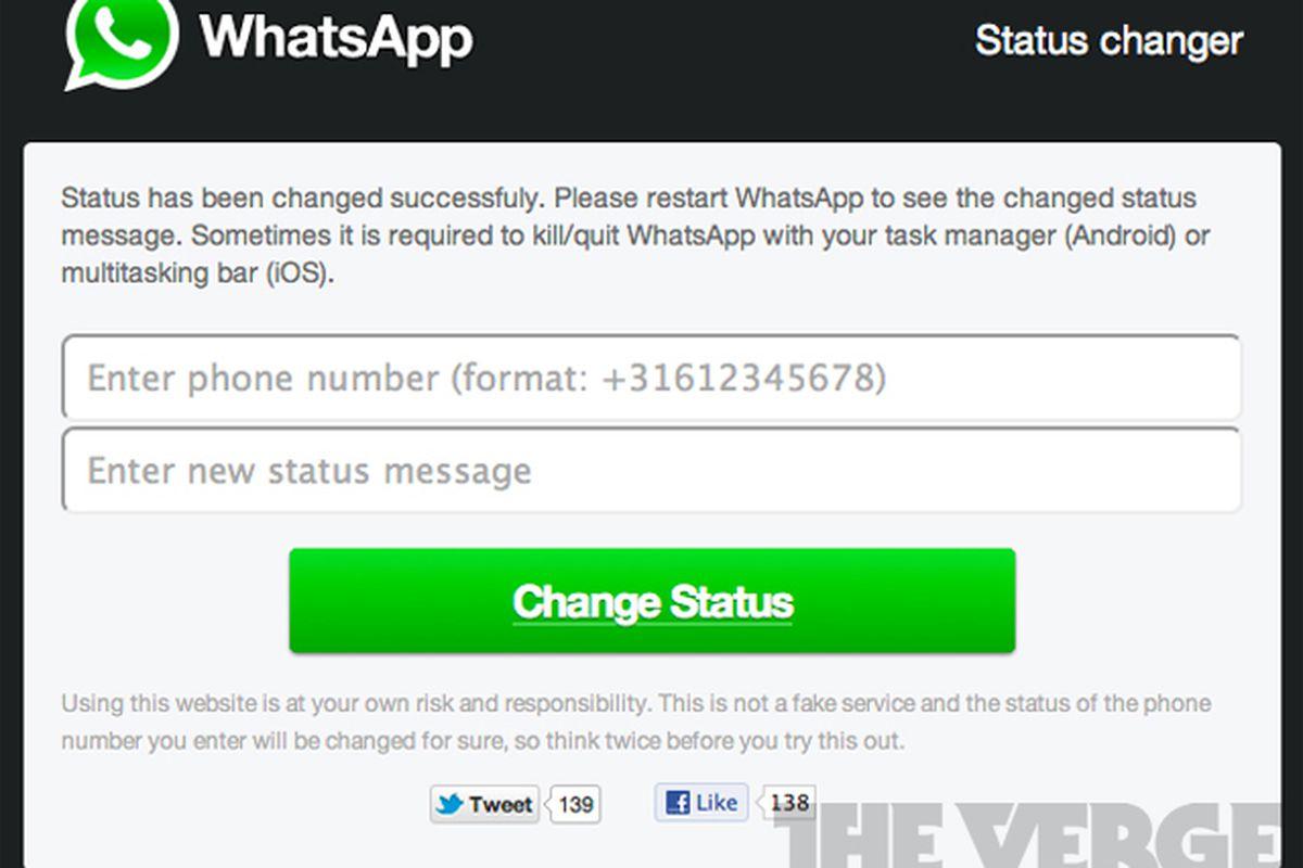 WhatsApp status changer