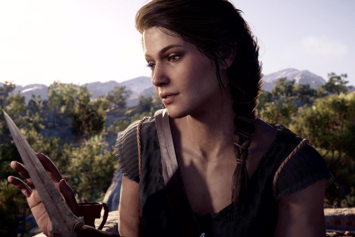 Kassandra admiring a knife in Assassin's Creed Odyssey