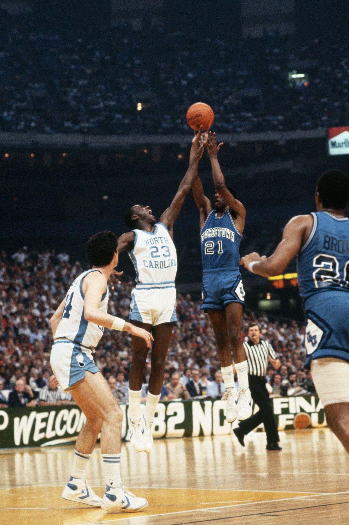 Michael Jordan Blocking Sleepy Floyd's Throw