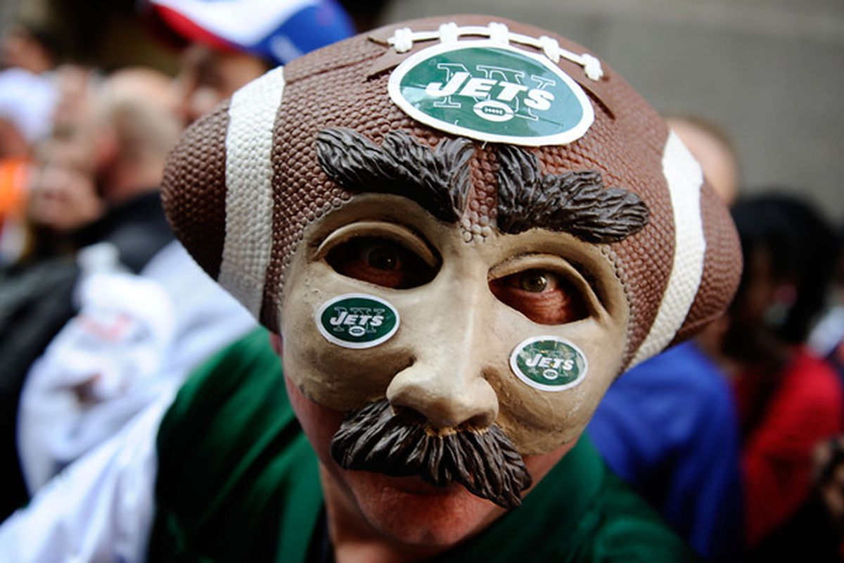 NEW YORK - APRIL 22:  New York Jets fan Joe Legotti of Lindenhurst, Long Island attends the 2010 NFL Draft at Radio City Music Hall on April 25, 2009 in New York City.  (Photo by Jeff Zelevansky/Getty Images)