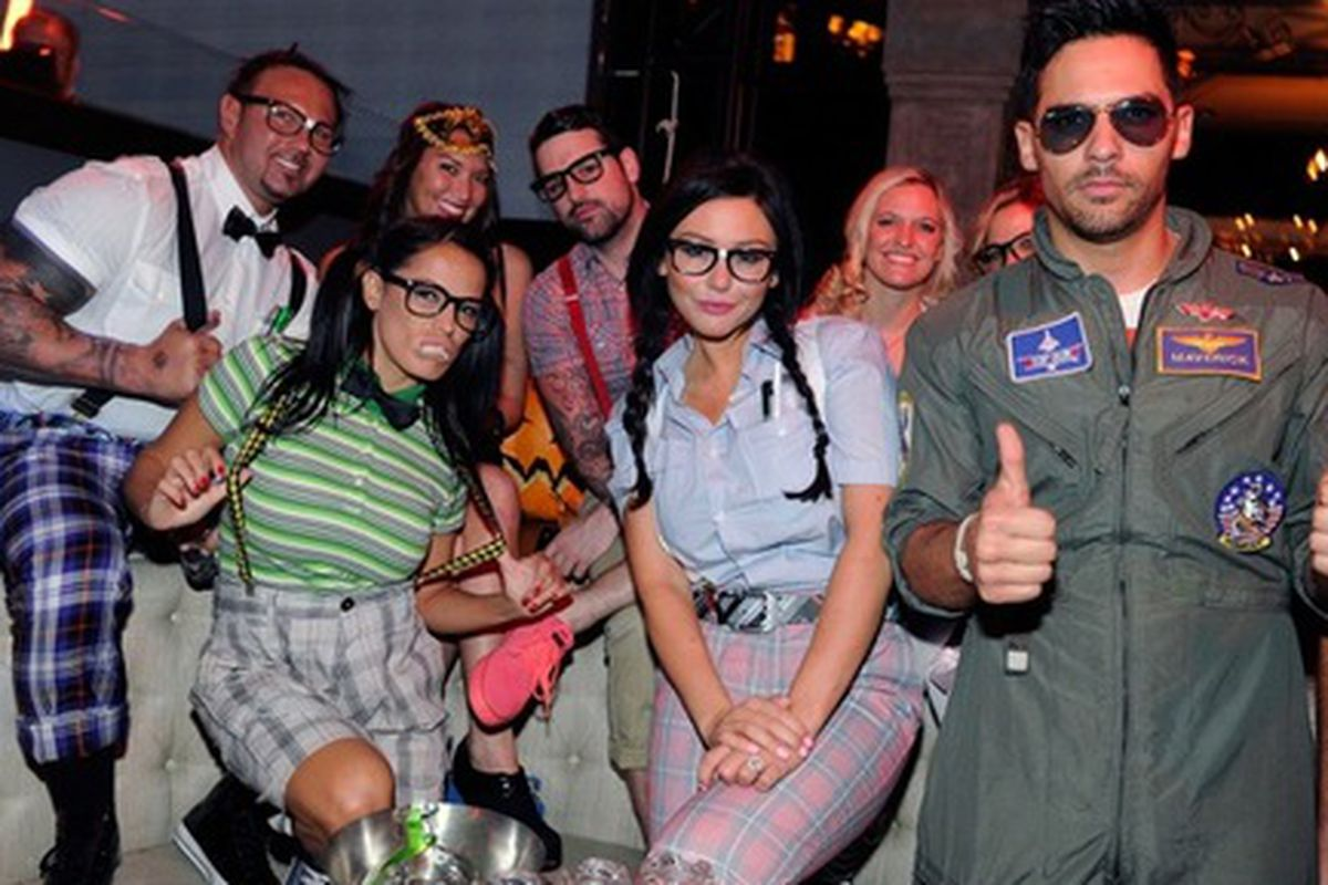 """Jenni """"JWoww"""" Farley and her friends dress as nerds for Halloween last year at Chateau."""