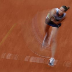 Karolina Pliskova of the Czech Republic serves in her semifinal match against Romania's Simona Halep at the French Open tennis tournament at the Roland Garros stadium, in Paris, France. Thursday, June 8, 2017.