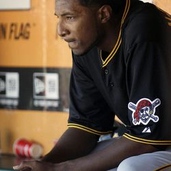 Pittsburgh Pirates pitcher James McDonald (53) sits in the dugout after being relieved for pitcher Tony Watson against the San Francisco Giants during the sixth inning of a baseball game in San Francisco, Friday, April 13, 2012.