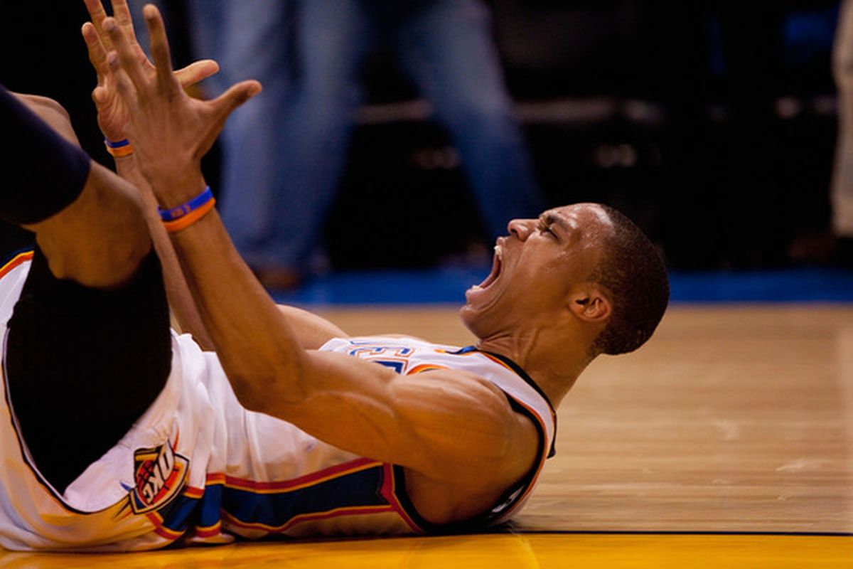 Either Westbrook is really intense or suffers from labor pains during big games.