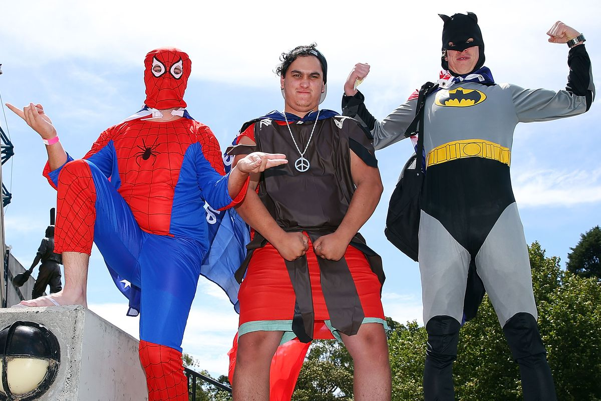 """Picked this photo for dumb joke about bats, but Spider-Man's """"eh, whatcha gonna do"""" arms are great."""