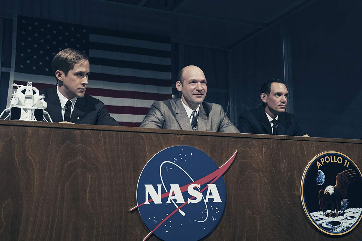 Ryan Gosling, Corey Stoll, and Lukas Haas in 'First Man'
