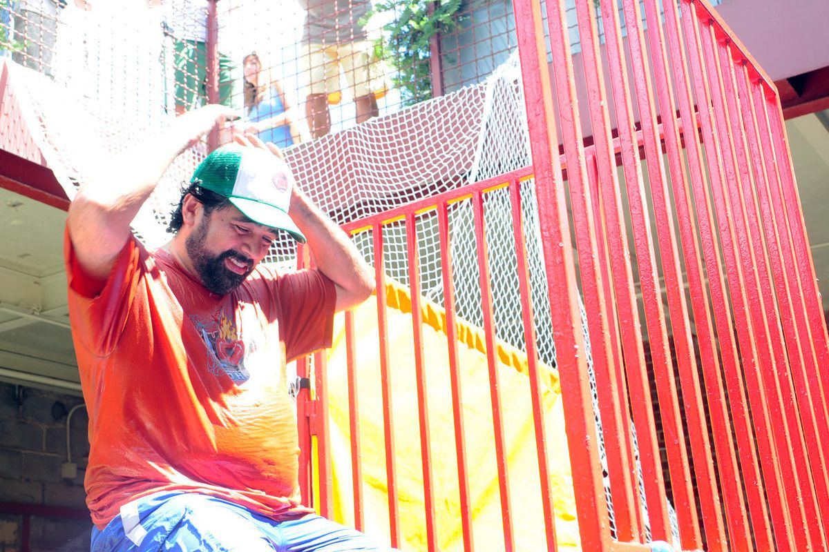 Hector Santiago in the dunk tank
