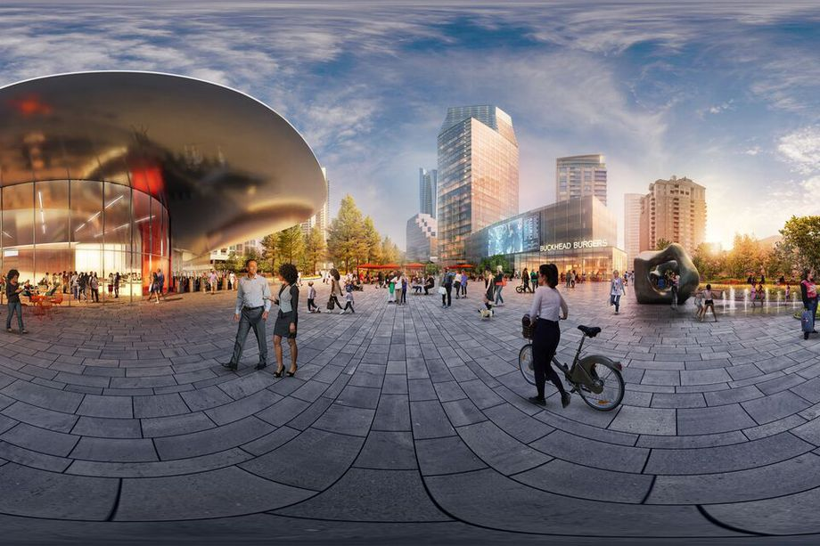 A view of a proposed plaza at Buckhead's highway-capping park.