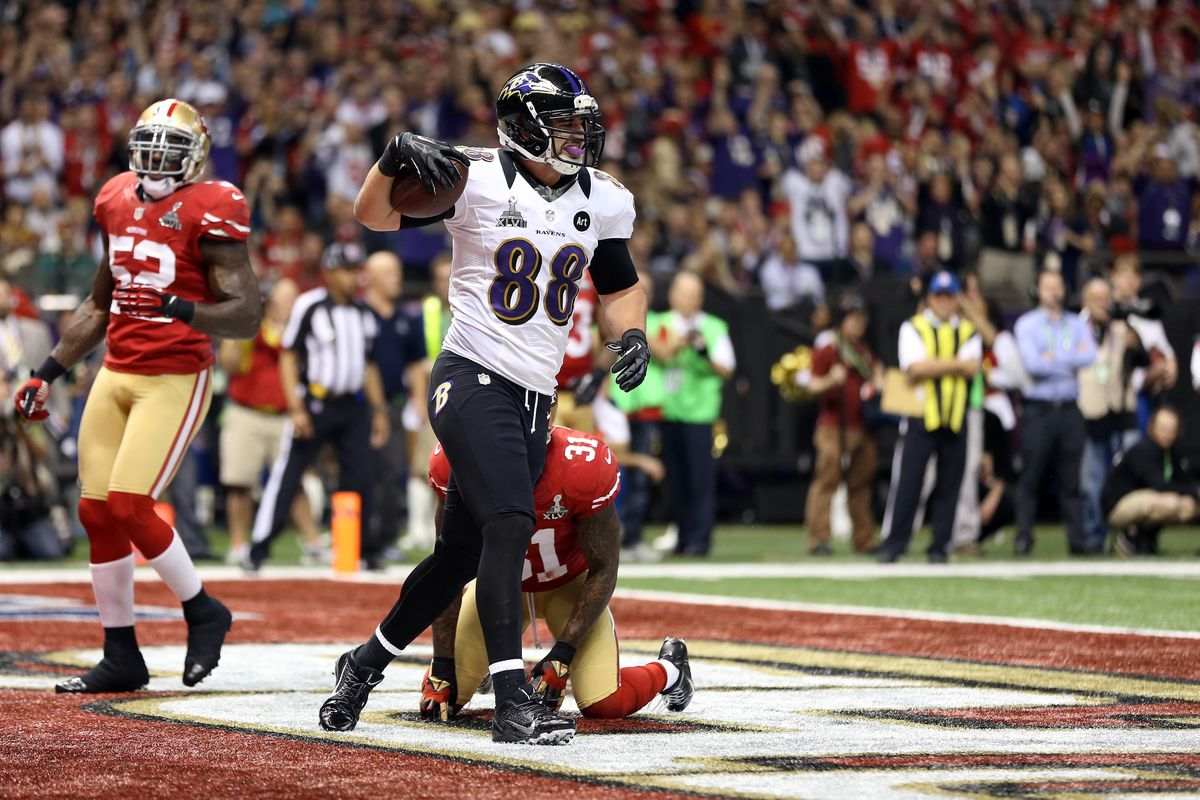 Feb 3, 2013; New Orleans, LA, USA; Baltimore Ravens tight end Dennis Pitta (88) reacts after catching a touchdown pass against the San Francisco 49ers in the second quarter in Super Bowl XLVII at the Mercedes-Benz Superdome. Mandatory Credit: Mark J.
