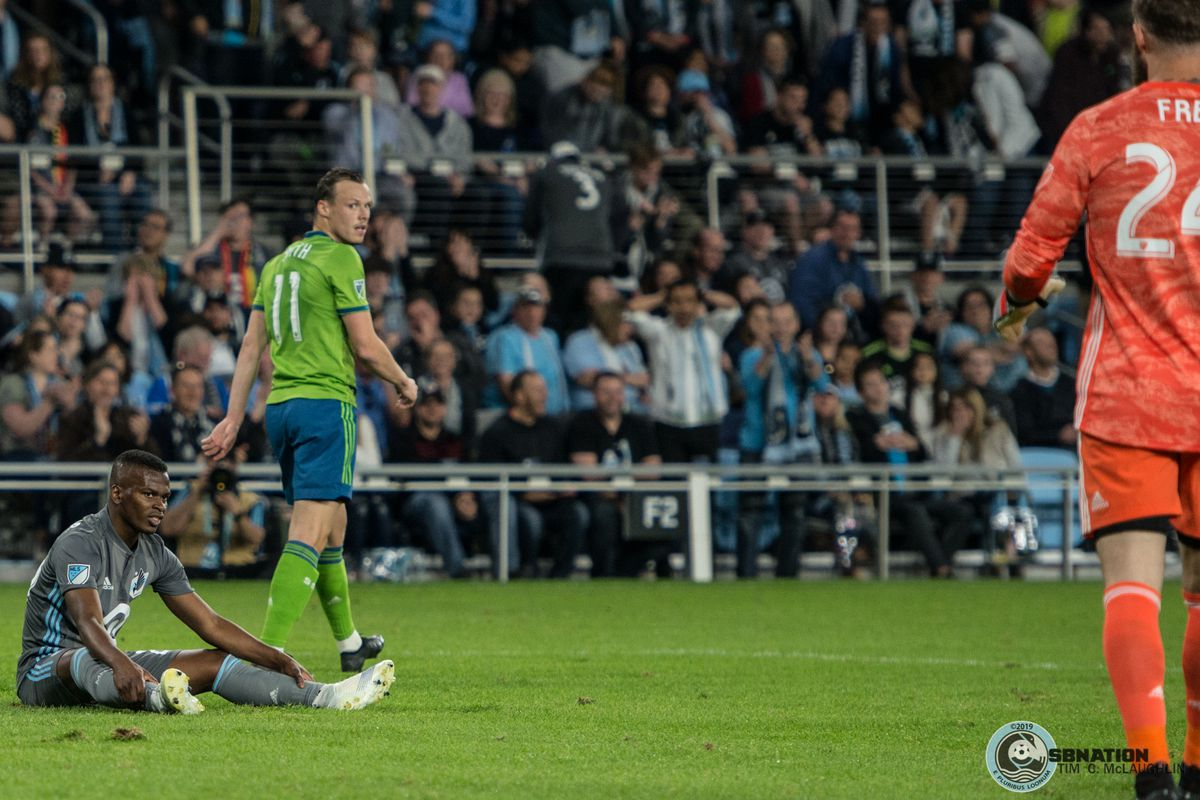 Darwin Quintero is frustrated after a missed opportunity during a 1-1 draw between Minnesota United and the Seattle Sounders