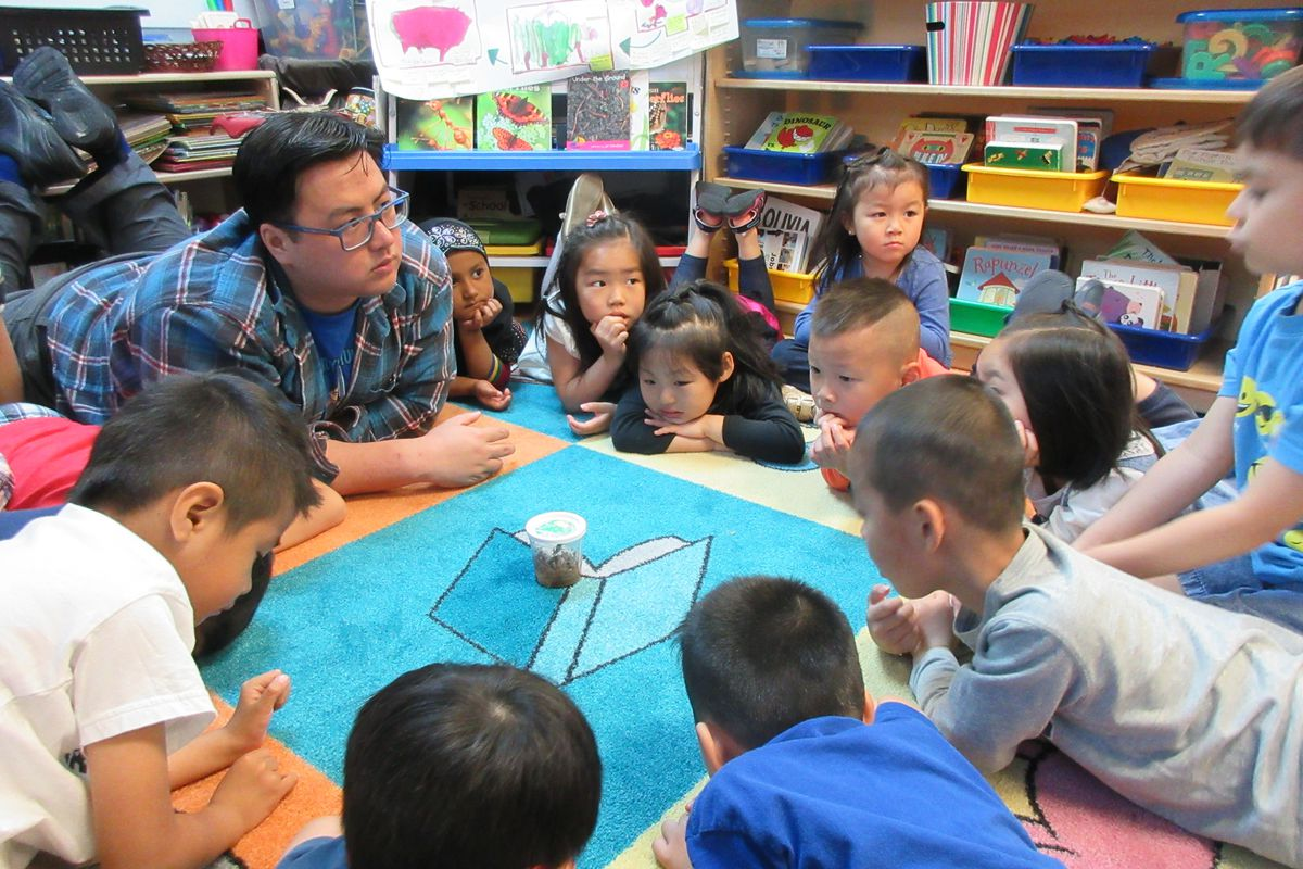 Andy Yung and his pre-K students share their observations about a caterpillar.