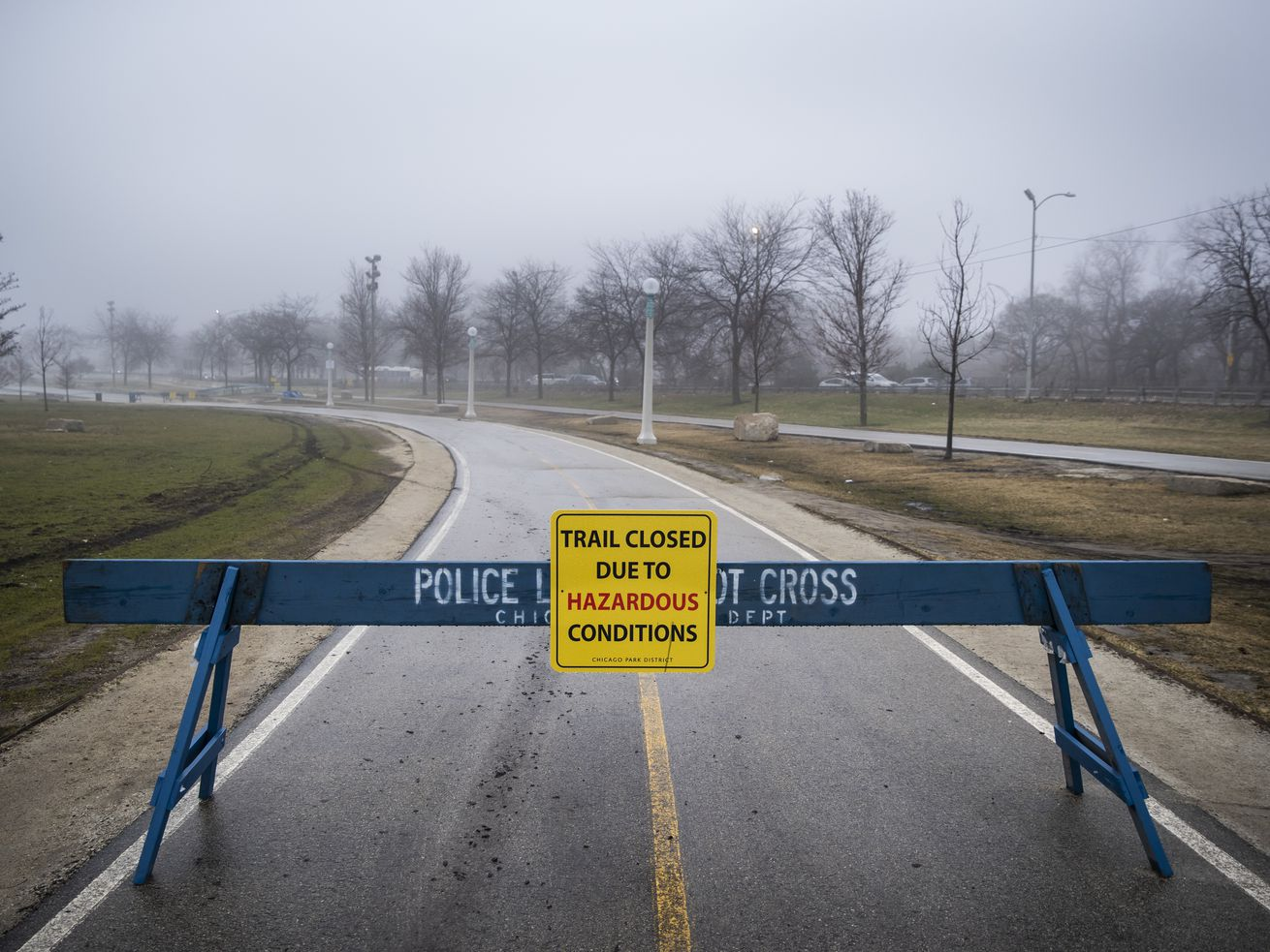 Barricades block access to the Lakefront Trail at Fullerton Avenue.