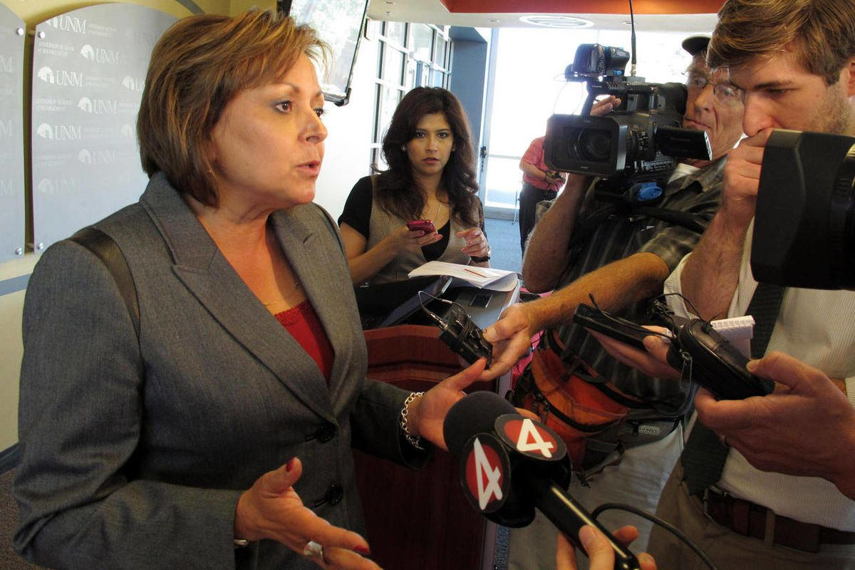 """New Mexico Gov. Susana Martinez talks to reporters about GOP presidential nominee Mitt Romney's comments in a secret video to wealthy donors that 47 percent of all Americans """"believe they are victims"""" entitled to extensive government support, Tuesday Sept"""