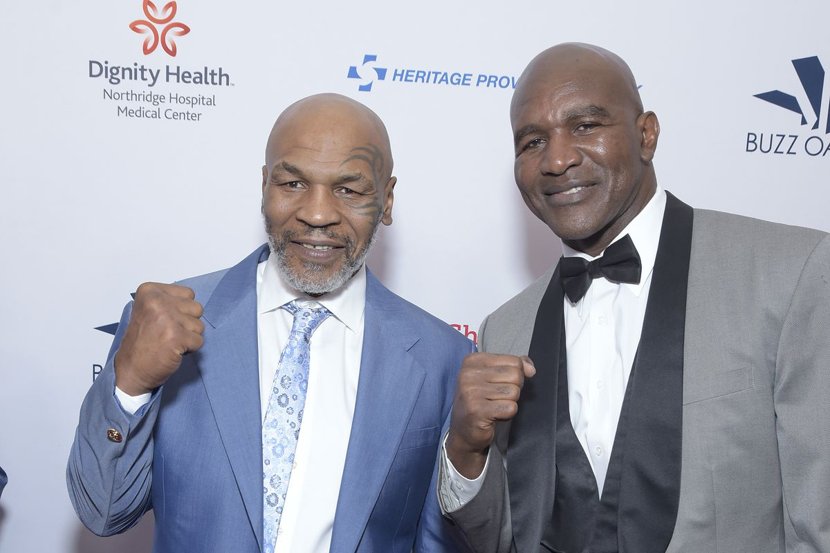 Heavyweight boxing legends Mike Tyson and Evander Holyfield attend the 19th annual Harold and Carole Pump Foundation Gala at The Beverly Hilton Hotel on August 09, 2019 in Beverly Hills, California.