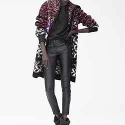 Cardigan ($149), Top ($99), Leather Pants ($299), Boots ($299)